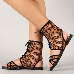 Shoespie Leopard Lace Up Flat Sandals