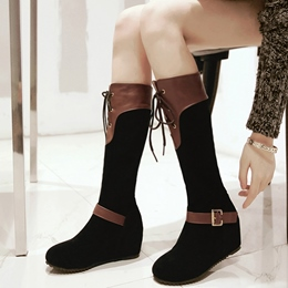 Shoespie Color Block Wedge Heel Fashion Boots