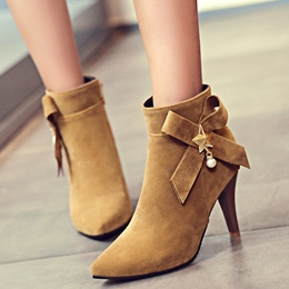 Shoespie Side Knot Pointed Toe Mid Heel Fashion Booties