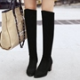 Shoespie Basic Solid Color Chunky Heel Knee High Boots