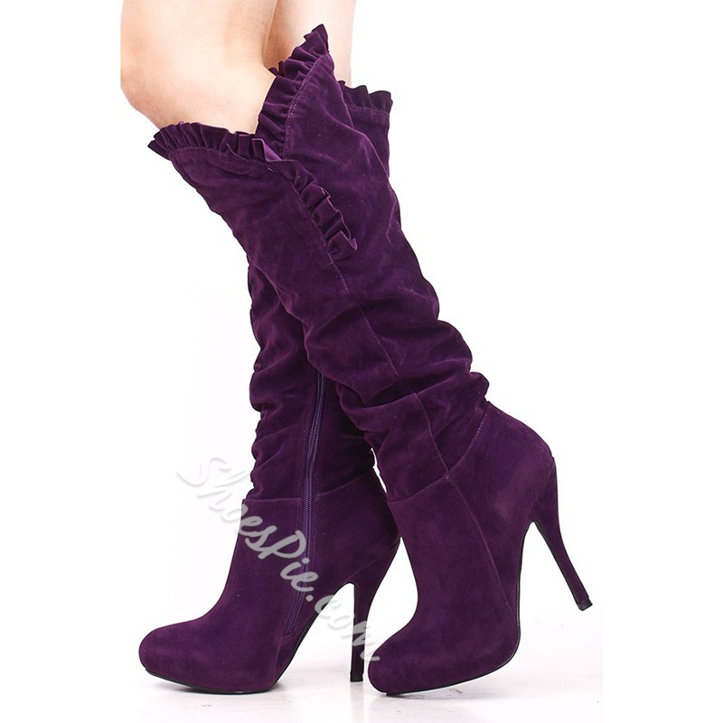 Pretty Suede Stiletto Heels Knee High Boots