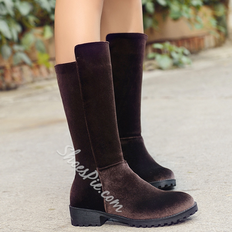 Shoespie Round Toe Suede-Like Flat Boots