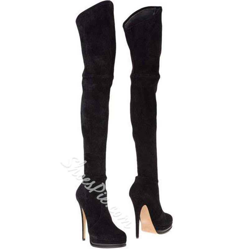 af250941c40 Shoespie Black Suede-like Extreme High Heel Thigh High Boots- Shoespie.com
