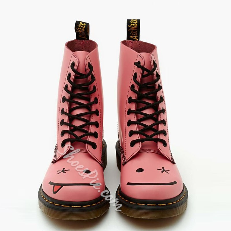 Shoespie Pink Smile Face Print Martin Boots