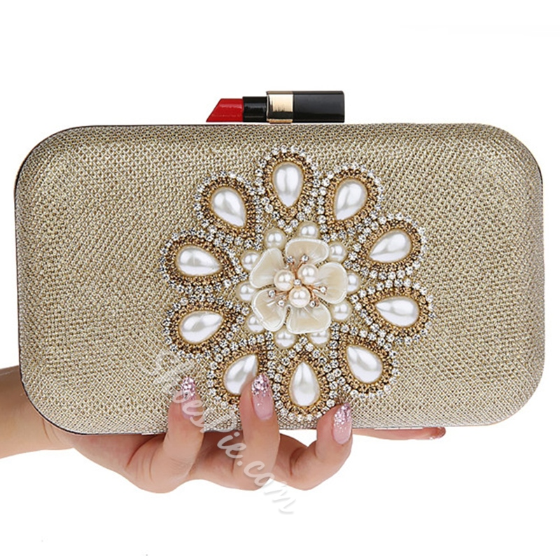 Shoespie Floral Bead Clutch Bag