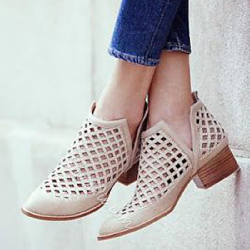 Shoespie Cage Cut Out Ankle Boots