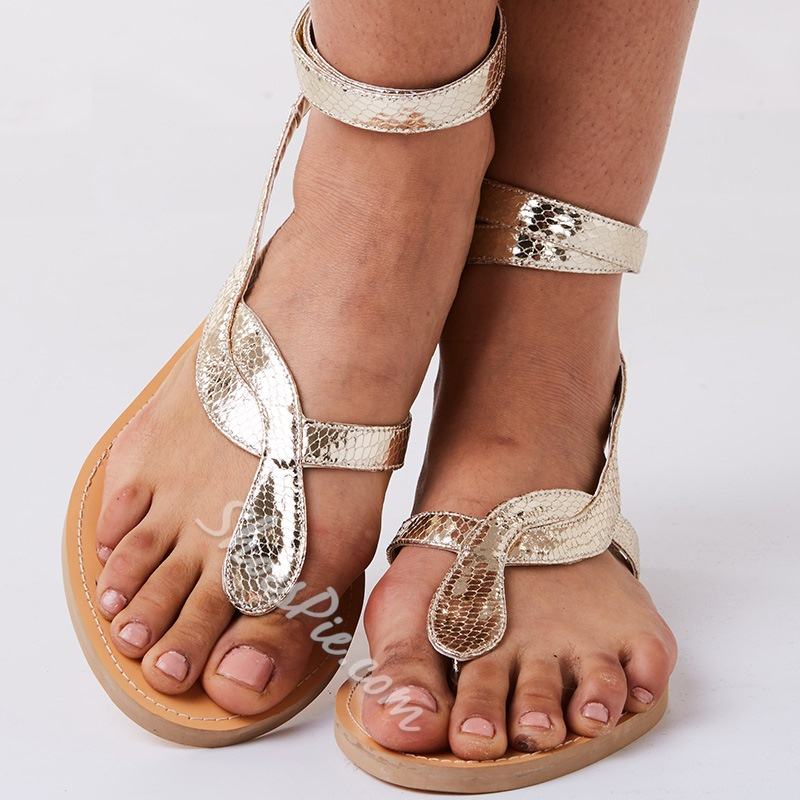 Shoespie Golden Snake Strappy Flat Gold Jesus Sandals