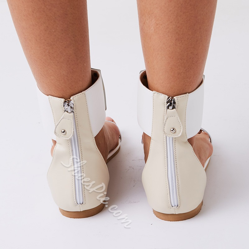 Shoespie Metal T Strap Flat Sandals