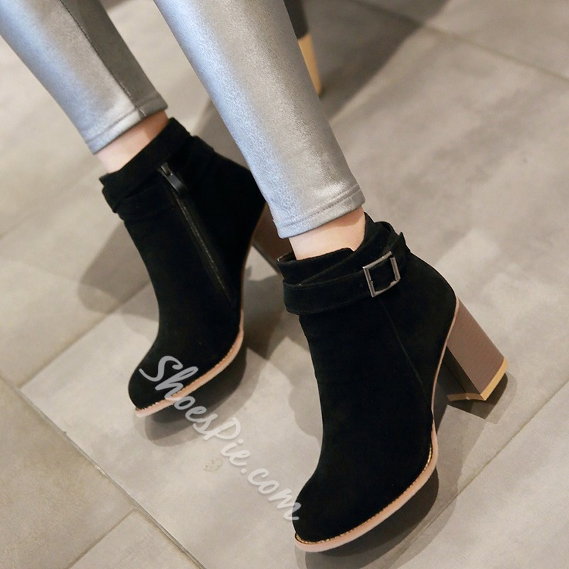 Shoespie Suede-Like Ankle Buckle Block Heel Fashion Booties