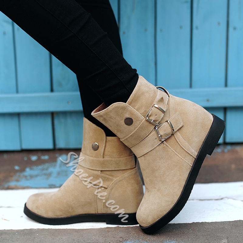 Shoespie Nubuck Buckle Flat Snow Boots