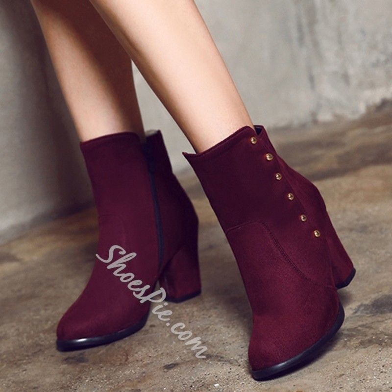 Shoespie Round Toe Block Heel Fashion Boots