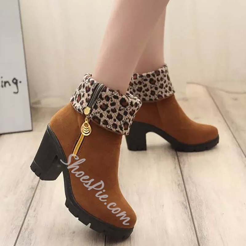 Shoespie Round Toe Chunky Heel Snow Boots