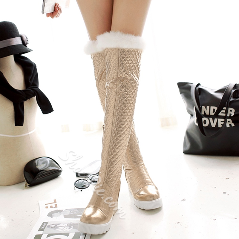 Shoespie Casual Round Toe Furry Knee High Snow Boots