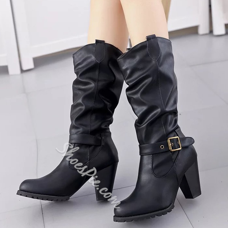 Shoespie Gaint Buckle Mid Calf Block Heel Riding Boots
