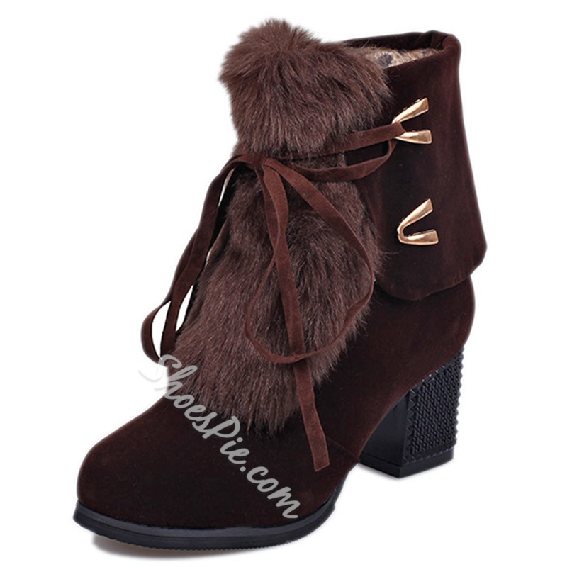 Shoespie Furry Lace Up Block Heel Snow Boots