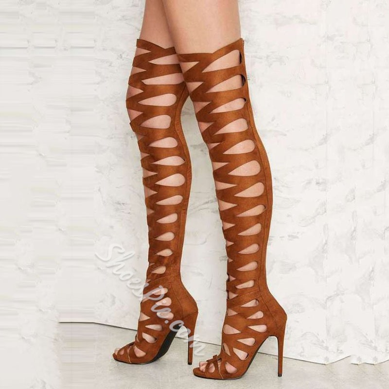 Shoespie Brown Suede-like Cut Out Cage Thigh High Boots
