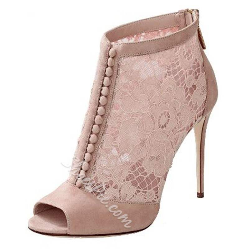 Shoespie Pink Lace Patchwork Button-Loop Fashion Boots