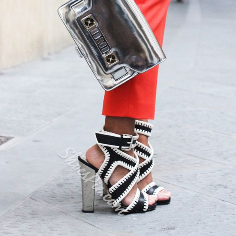 Shoespie Black and White Purfled Sandals