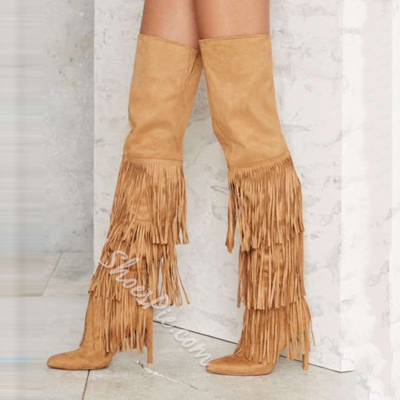 Shoespie Light Brown Pointed Toe Fringe Exteme High Thigh High Boots