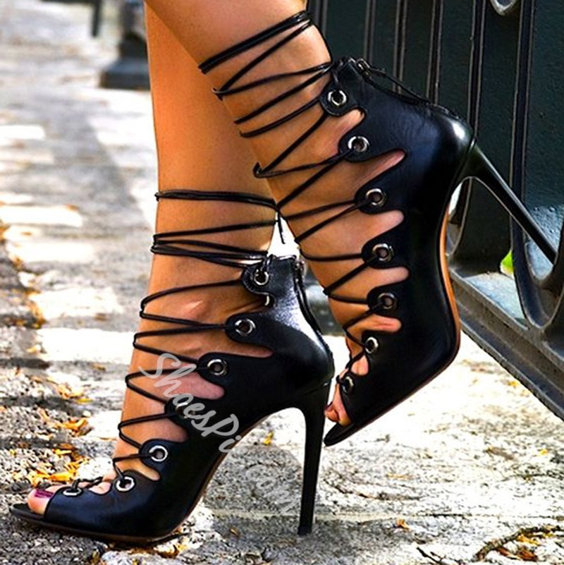 Shoespie Sexy Black Laceup Shoes