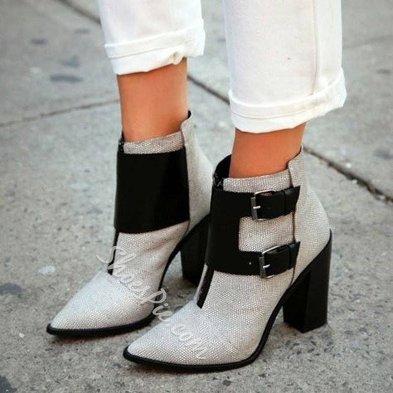 Shoespie Cloth & PU Patchwork Buckle Ankle Boots
