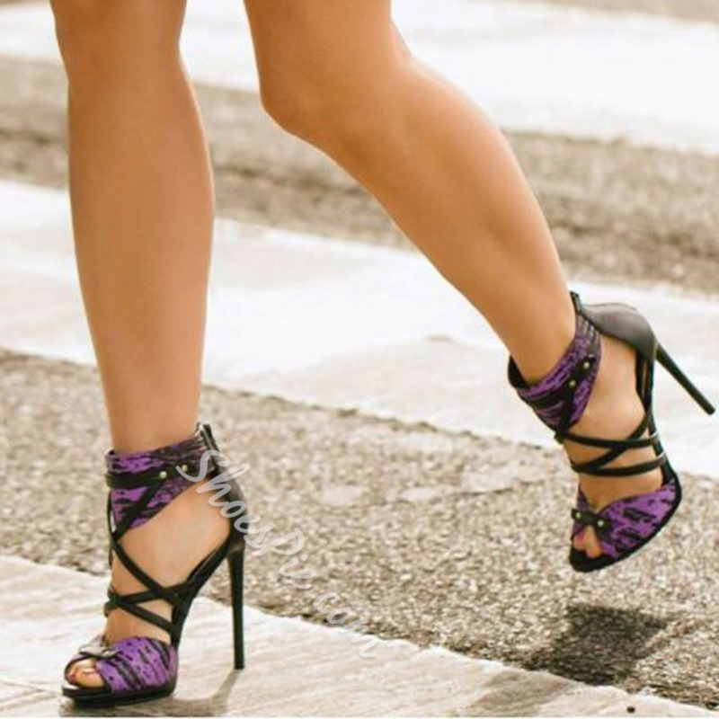 Shoespie Purple and Black Sandals