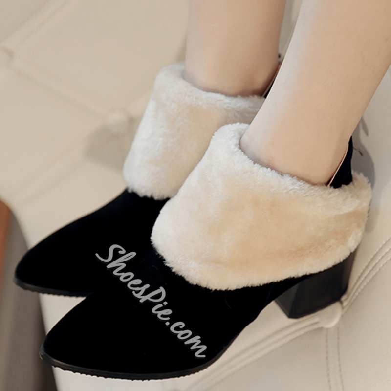 Shoespie Chuky Heel Shearling Ankle Boots