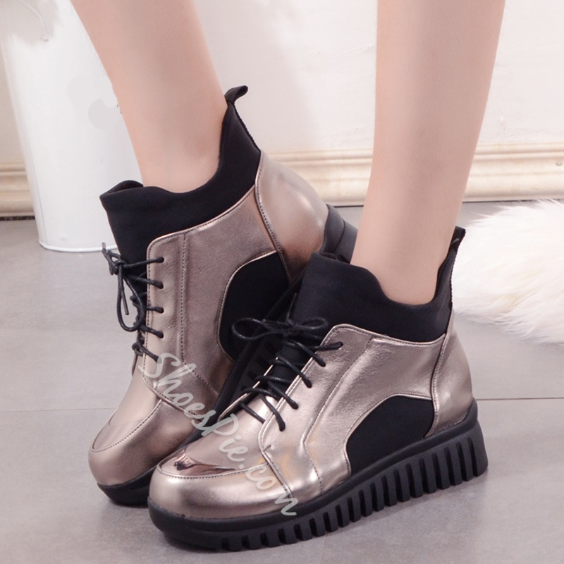 Shoespie Chic Round Toe Lace Up Hiking Boots