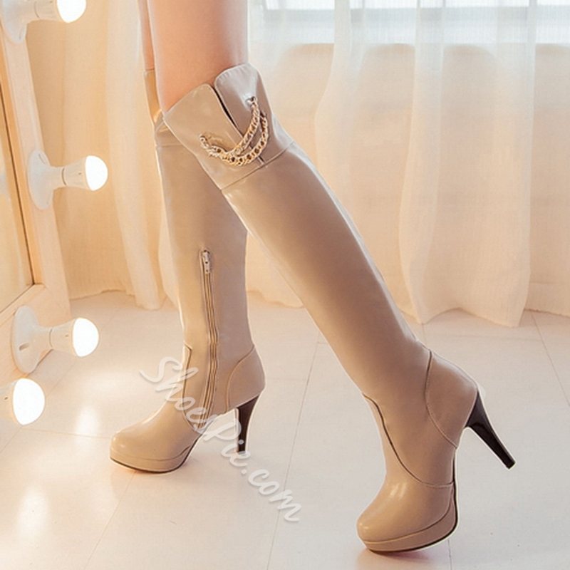 Shoespie Round Toe Chain Embellished Knee High Boots