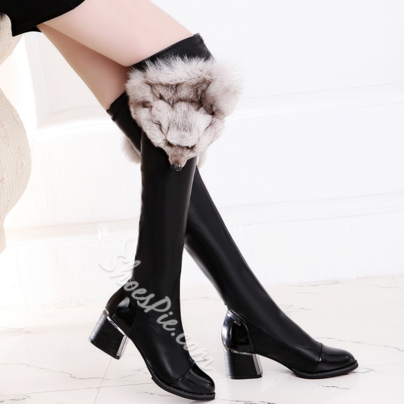 Shoespie Fox Shape Appliqued Block Heel Knee High Boots