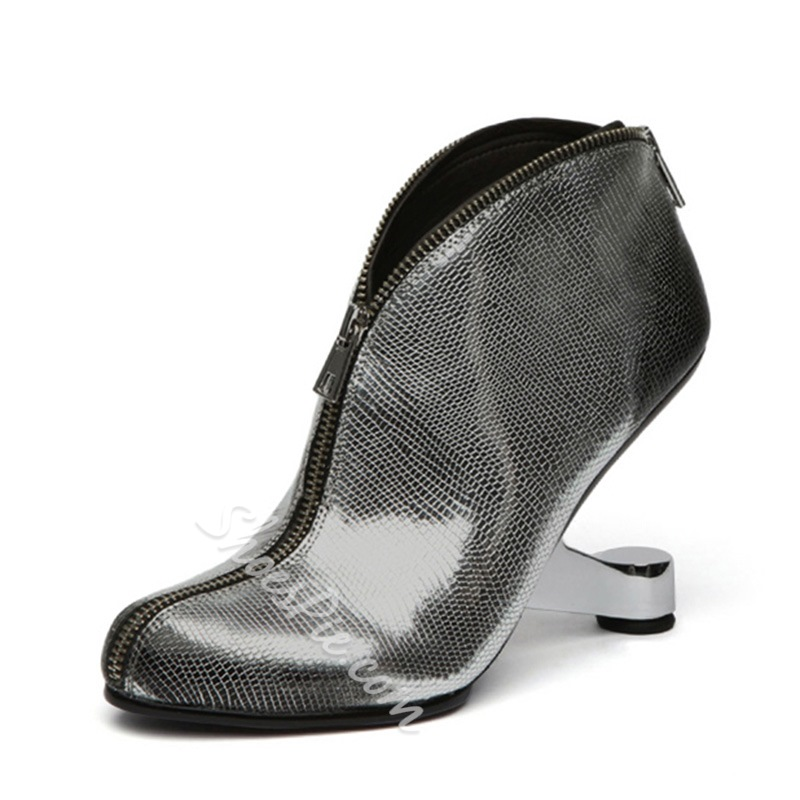 Shoespie Zipper Strange Heel Fashion Booties