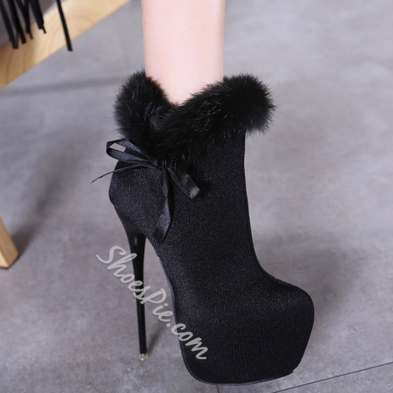 Shoespie Furry Platform Heel Ankle Boots