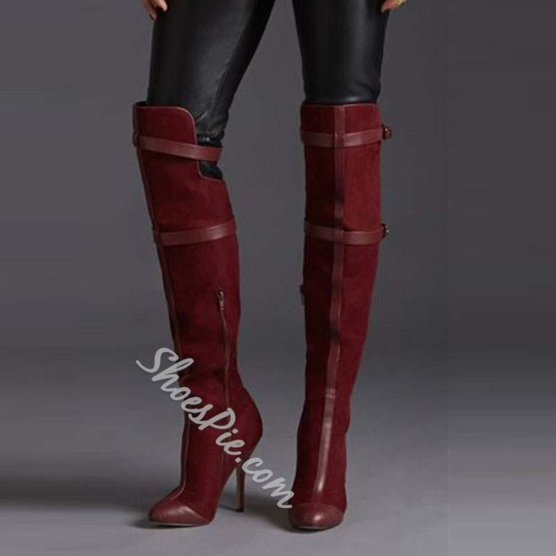 Shoespie Burgundy PU & Suede-like Patchwork Knee High Boots