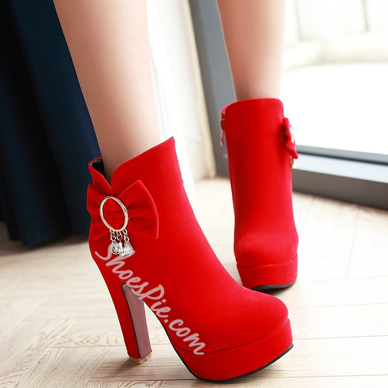 Shoespie Round Toe Suede-Like Fashion Booties