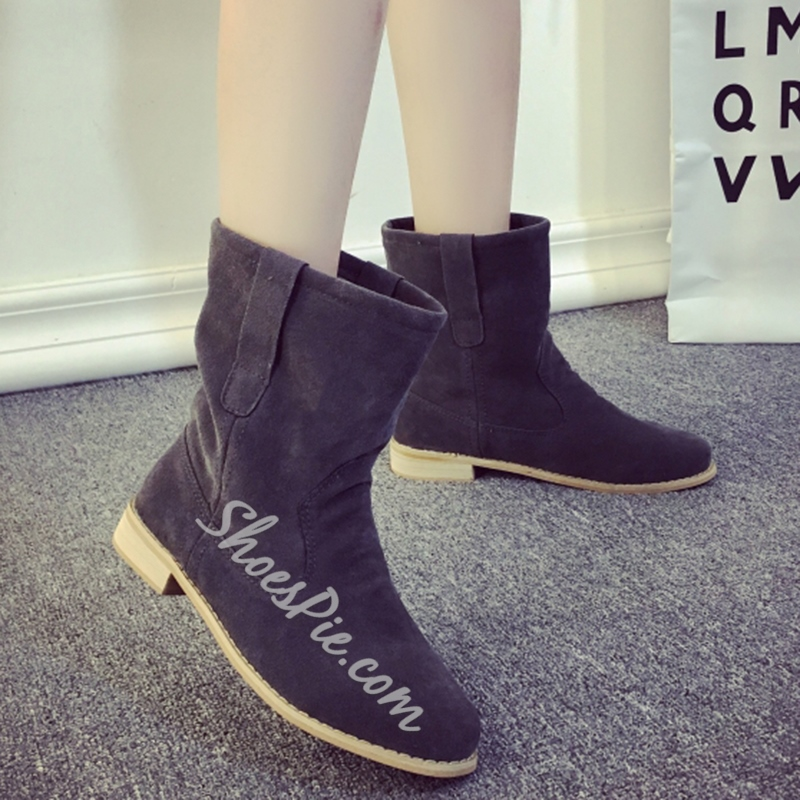 Shoespie Simply Suede-like Wide Calf Booties