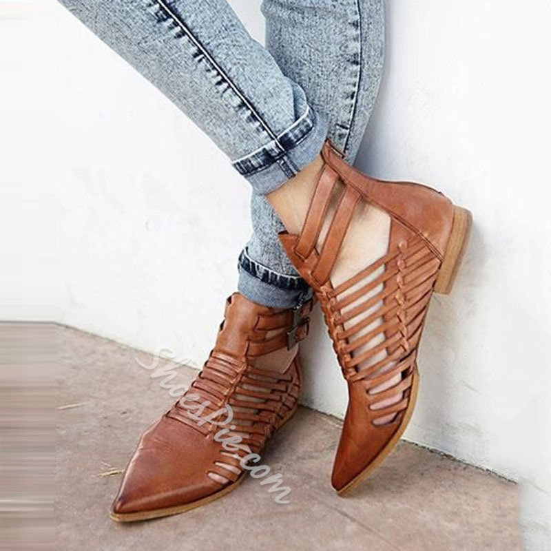 Shoespie Brown Weave Pointed Toe Loafers