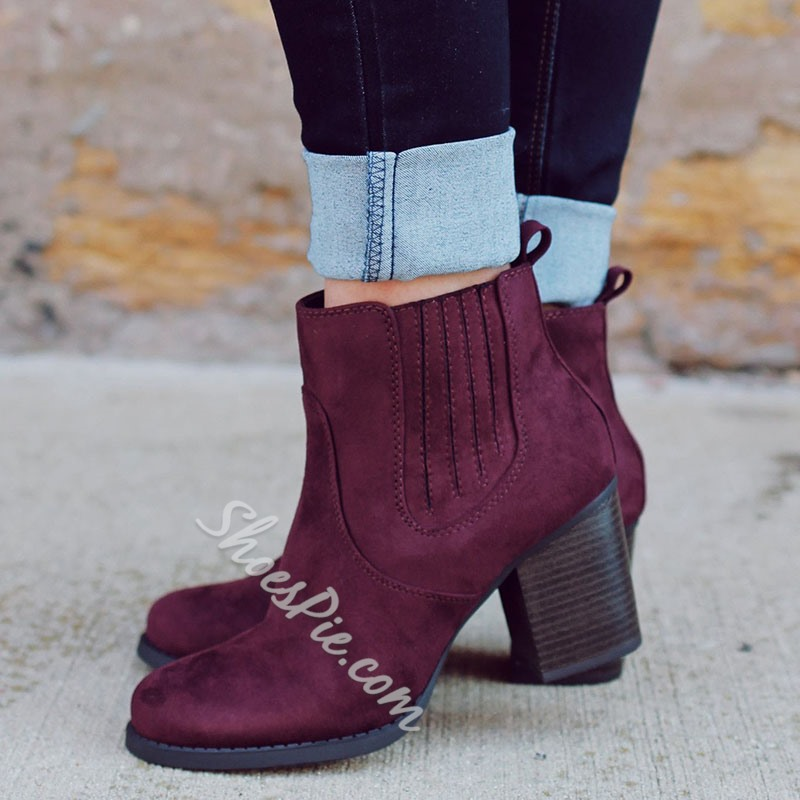 Shoespie Purple Suede-like Round Toe Fashion Booties