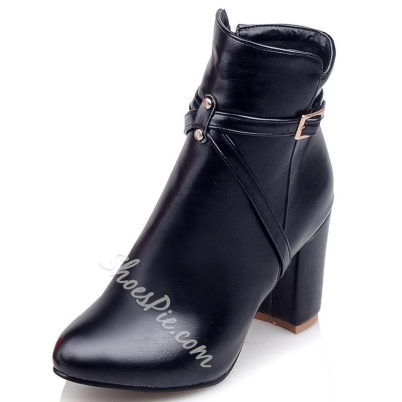 Shoespie Round Toe Block Heel Fashion Booties