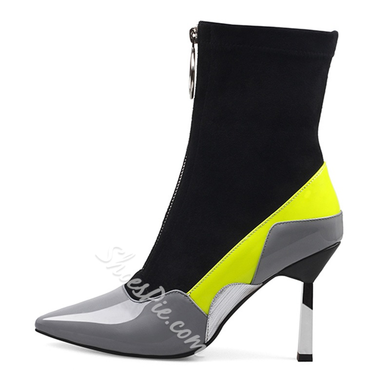 Shoespie Stretch Color Block Pointed Toe Fashion Booties
