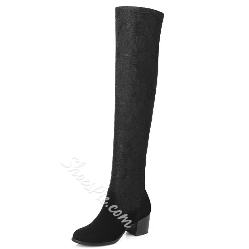 Shoespie Round Toe Block Heel Knee High Boots