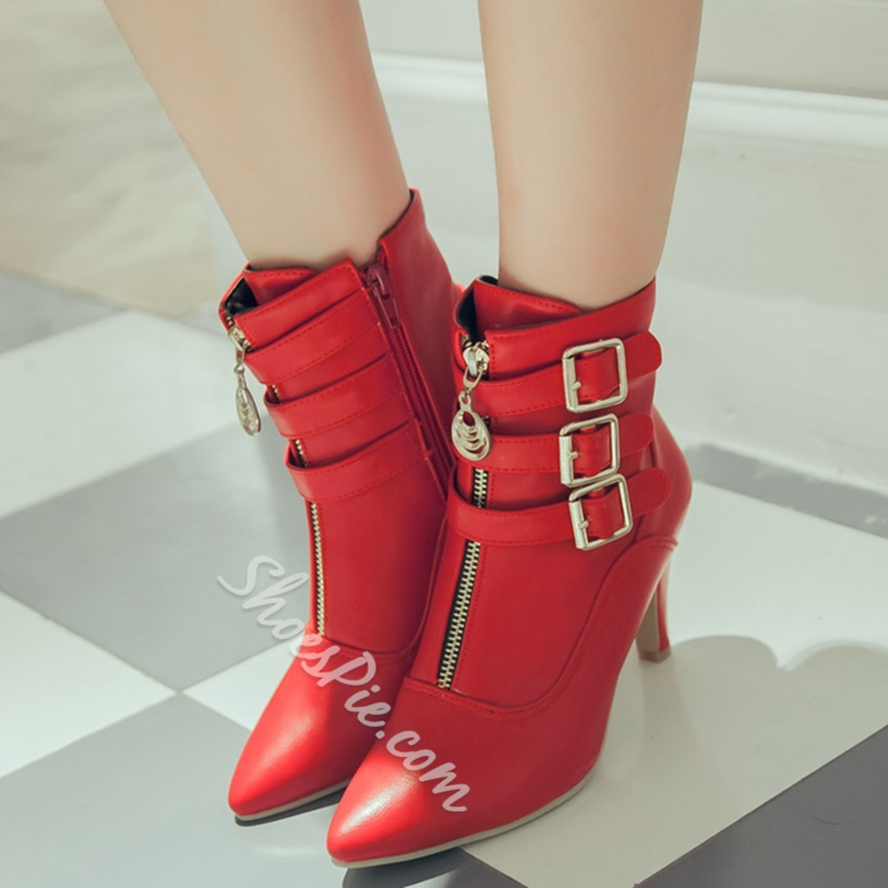 Shoespie Buckle Pointed Toe Ankle Boots