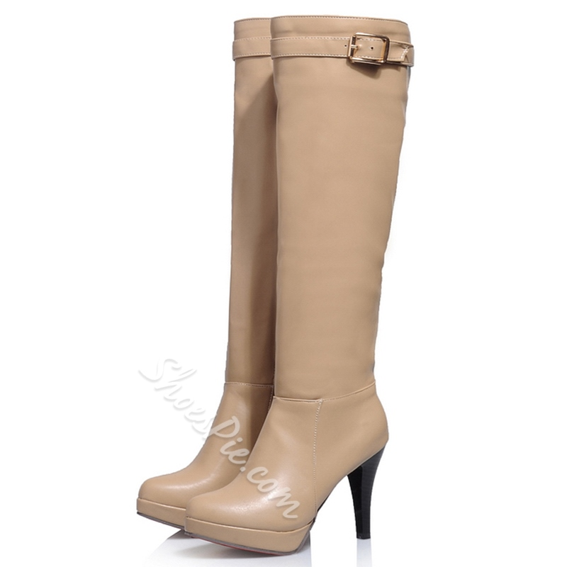 Shoespie Round Toe Platform Ridding Boots