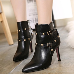 Shoespie Rivets Cross Strap Pointed Toe Ankle Boots