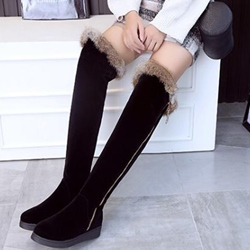 Shoespie Black Side Zipper Shearling Knee High Snow Boots