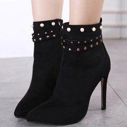 Shoespie Black Bead Pointed Toe Ankle Boots