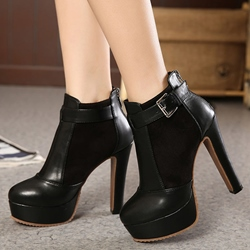 Shoespie Black Ankle Buckle Platform Ankle Boots