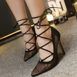 Shoespie Black Mesh Lace Up Stiletto Heels