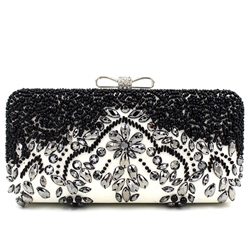 Shoespie Black Rhinestone Clutch Bag