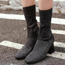 Shoespie Knitting Round Toe Chunky Heel Mid Calf Boots