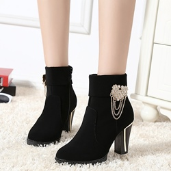 Shoespie Jewelled Chunky Low Ankle Boots